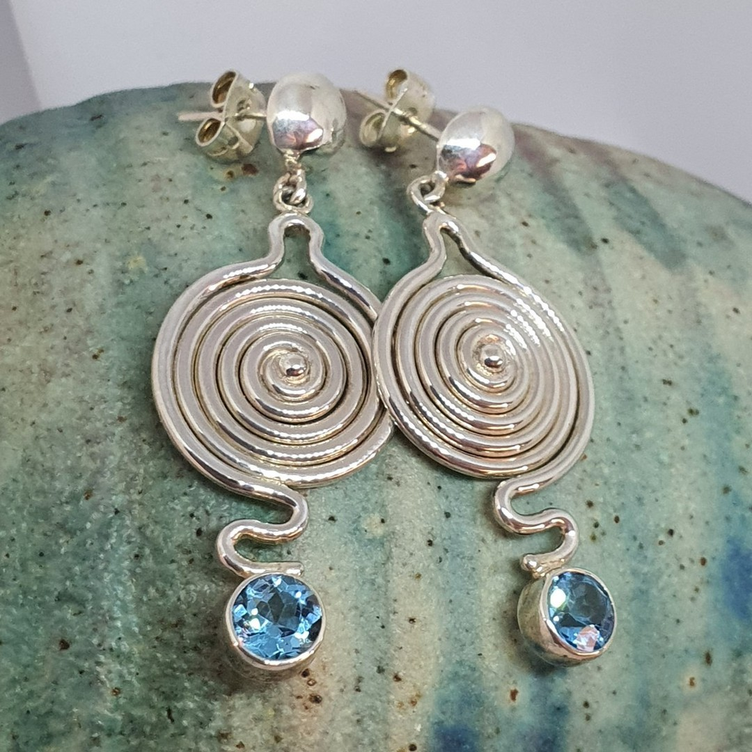 Quirky and unique blue topaz silver earrings image 1