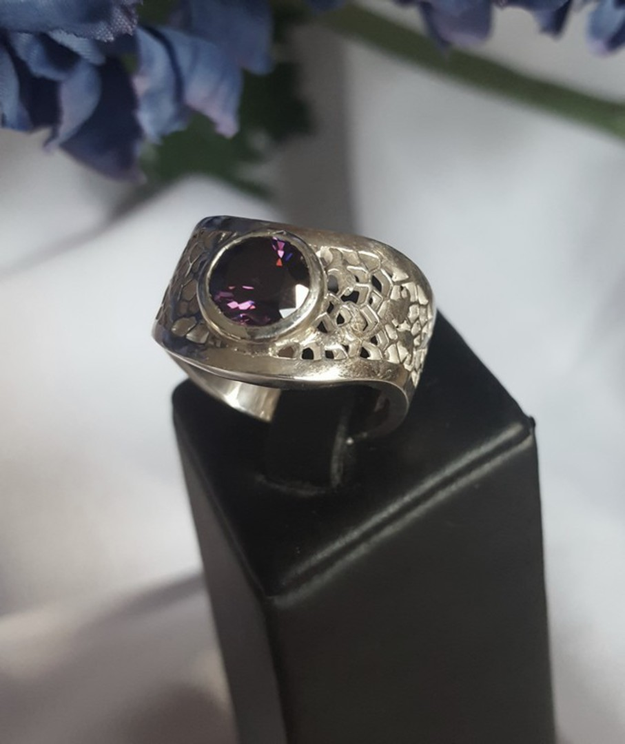 Chunky sterling silver amethyst ring image 0