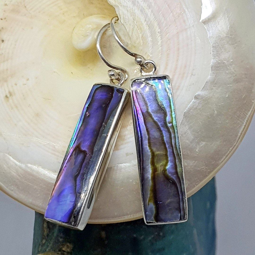 Long rectangle paua shell hook earrings image 3