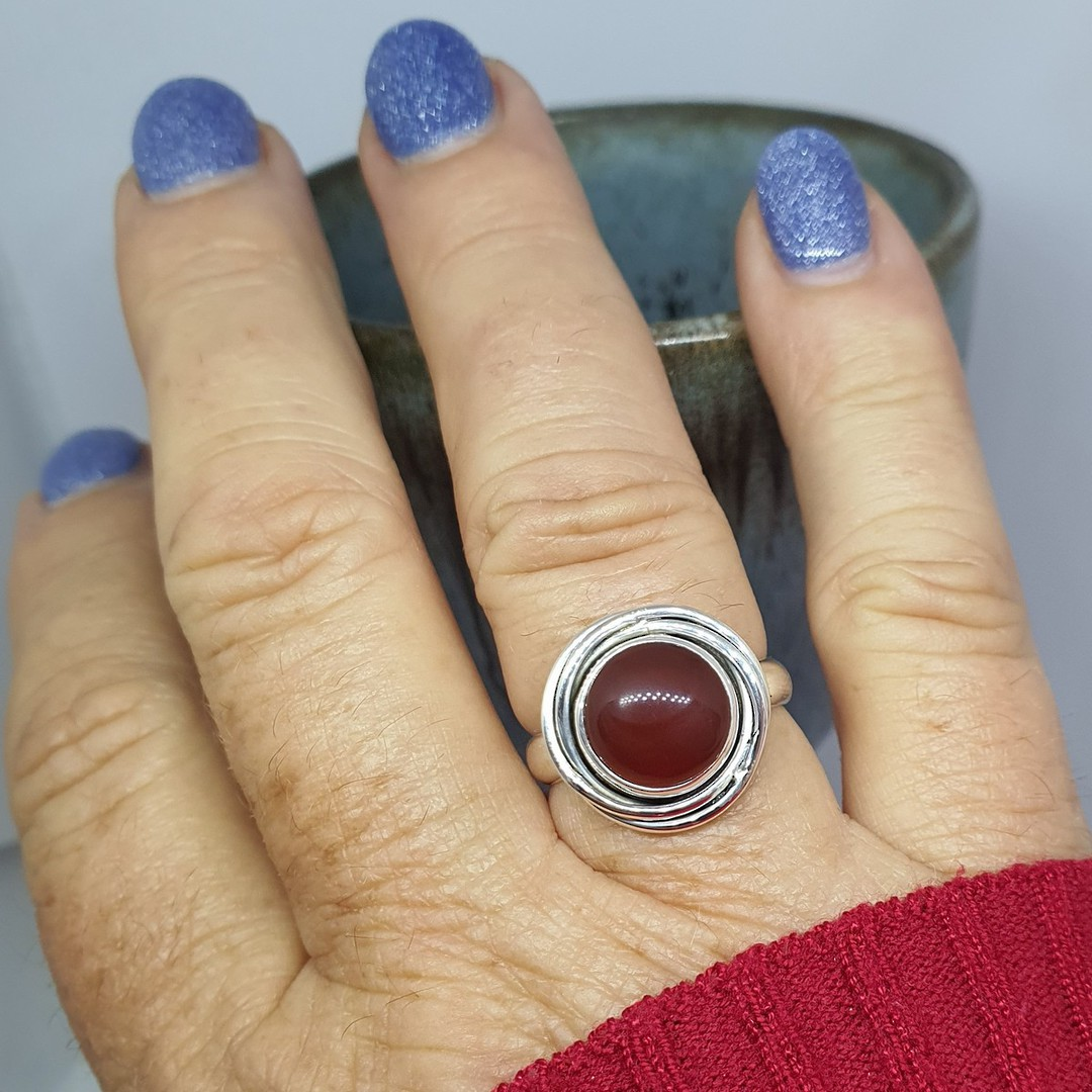 Silver carnelian ring image 2