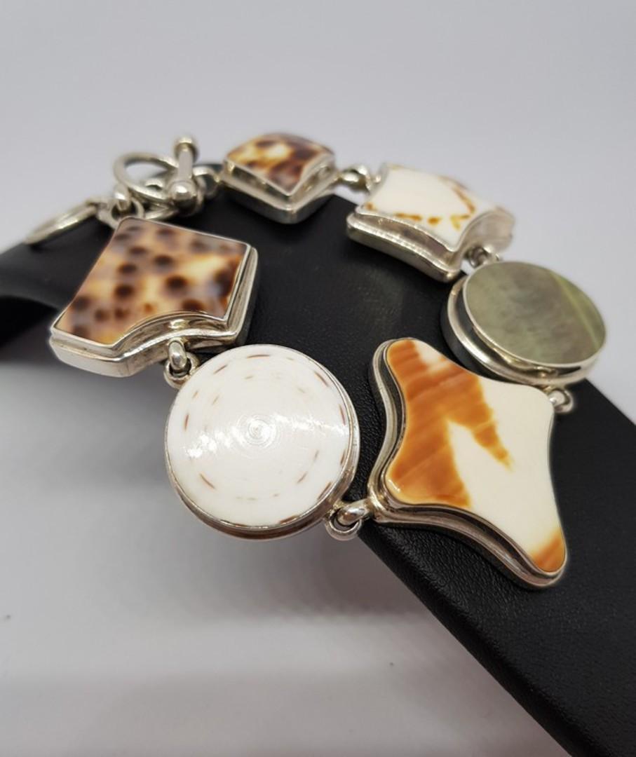 Solid sterling silver shell bracelet image 1