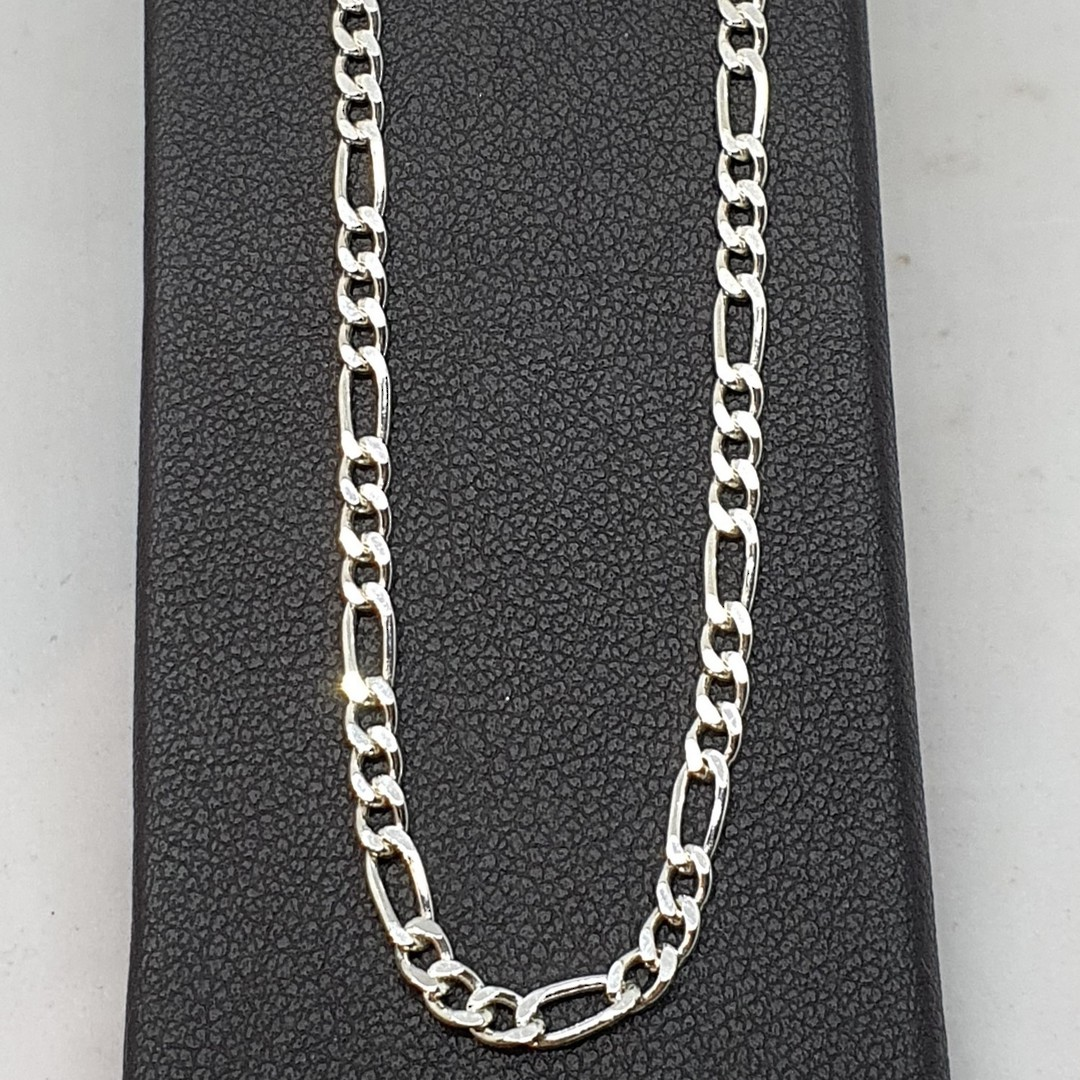 Sterling silver figaro chain, 60cms long image 1