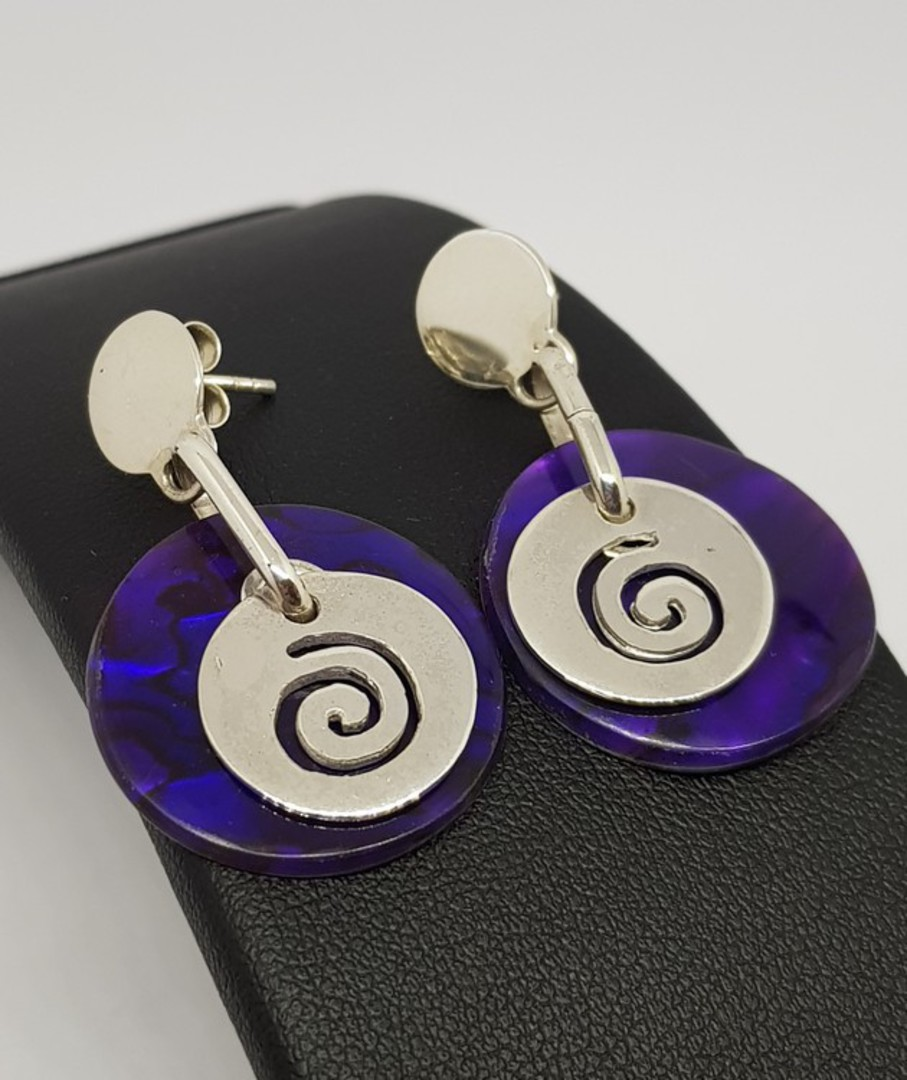 Purple paua shell earrings with koru detail image 2