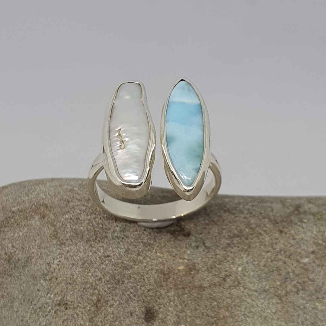 Sterling silver larimar and pearl ring image 1