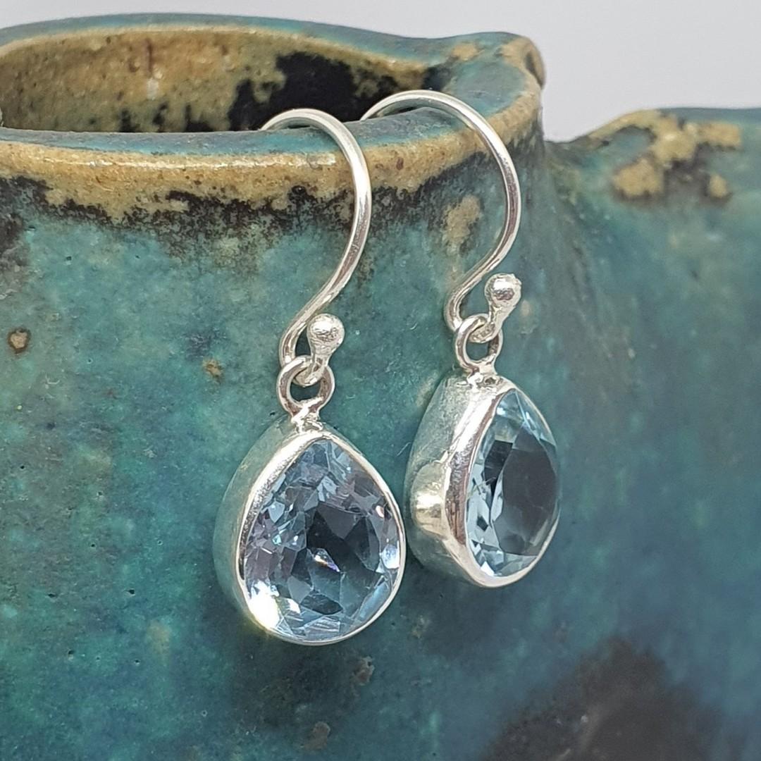 Sterling silver blue topaz teardrop earrings image 1