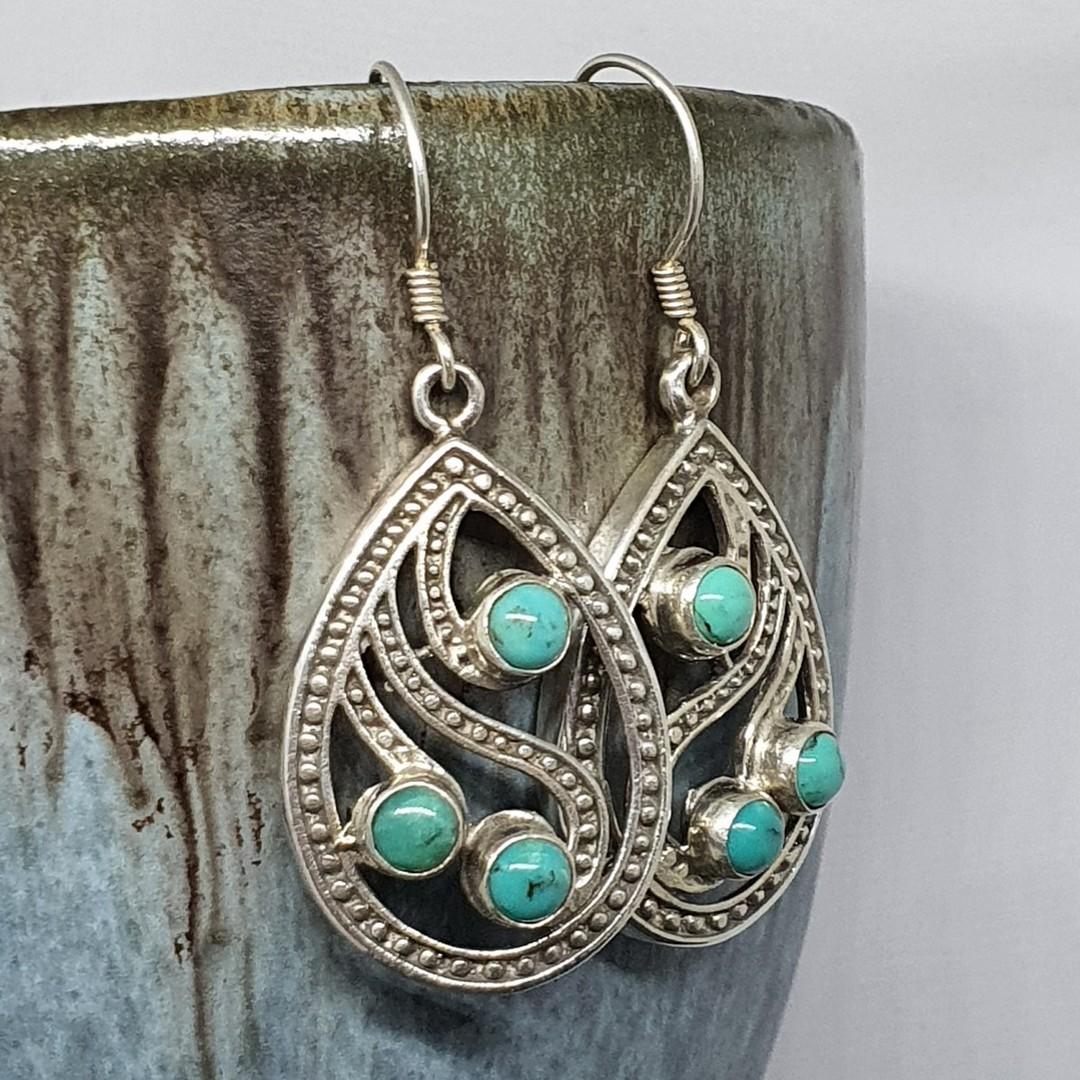 Sterling silver turquoise teardrop earrings image 1