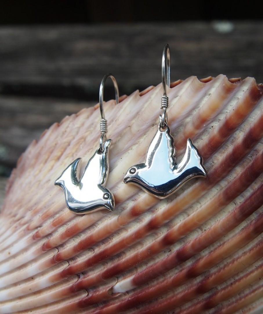 Sterling silver dove earrings image 1