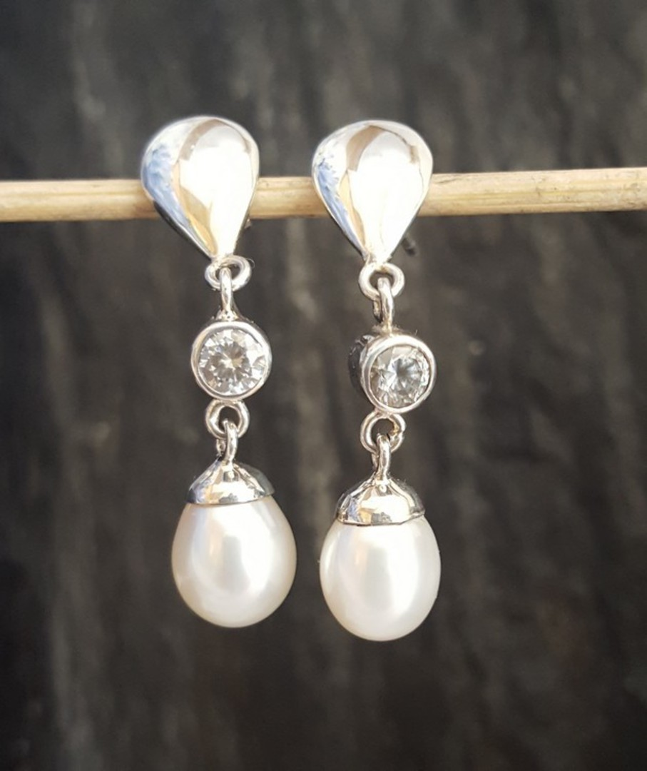 Fresh Water Pearl Drop Earrings with c/z sparkle image 2