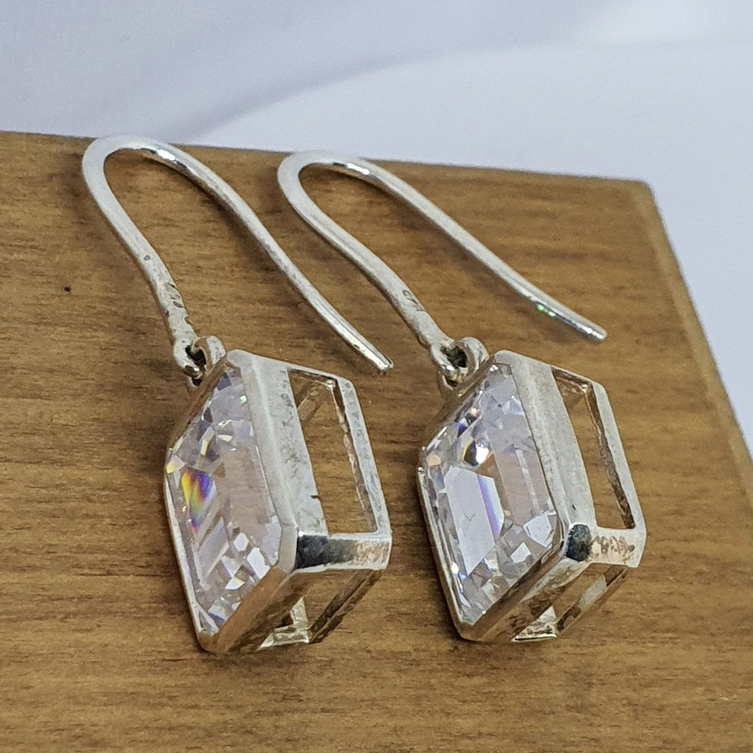 Rectangle cut cubic zirconia sterling silver earrings image 4