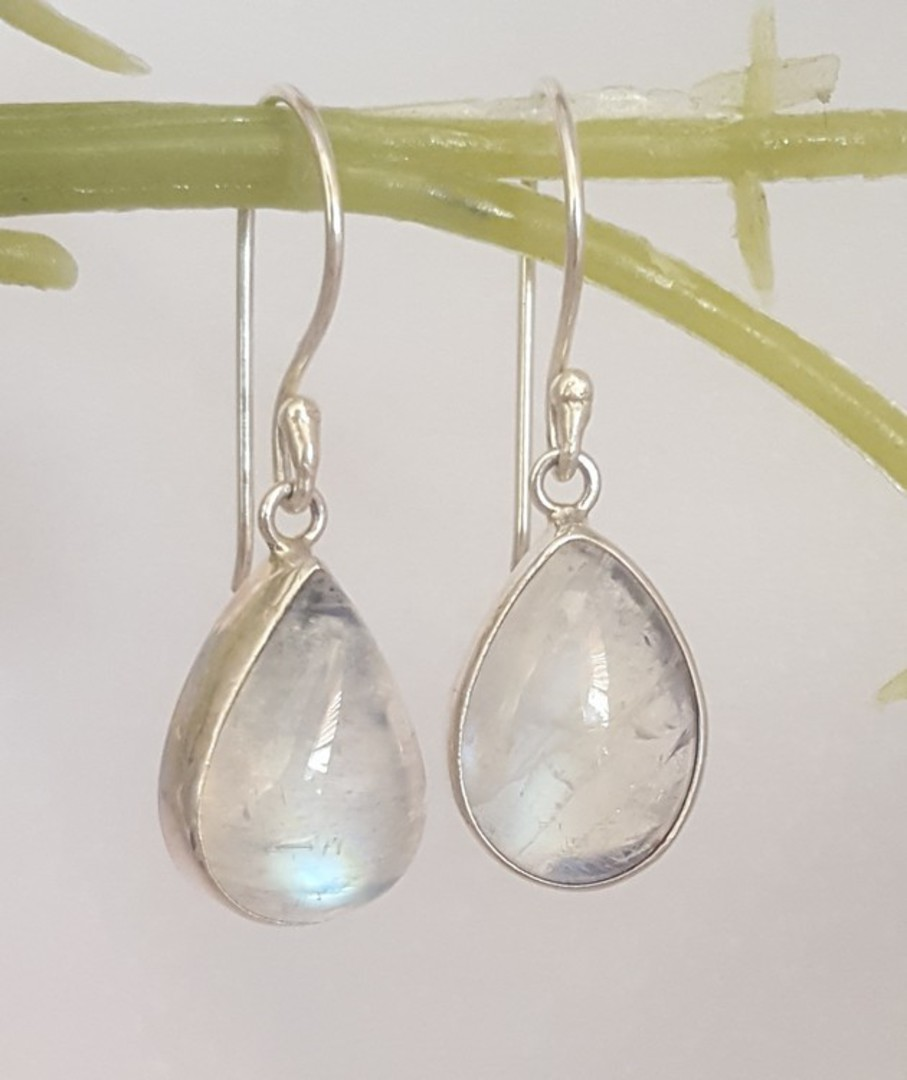 Teardrop moonstone silver earrings, sterling silver image 2