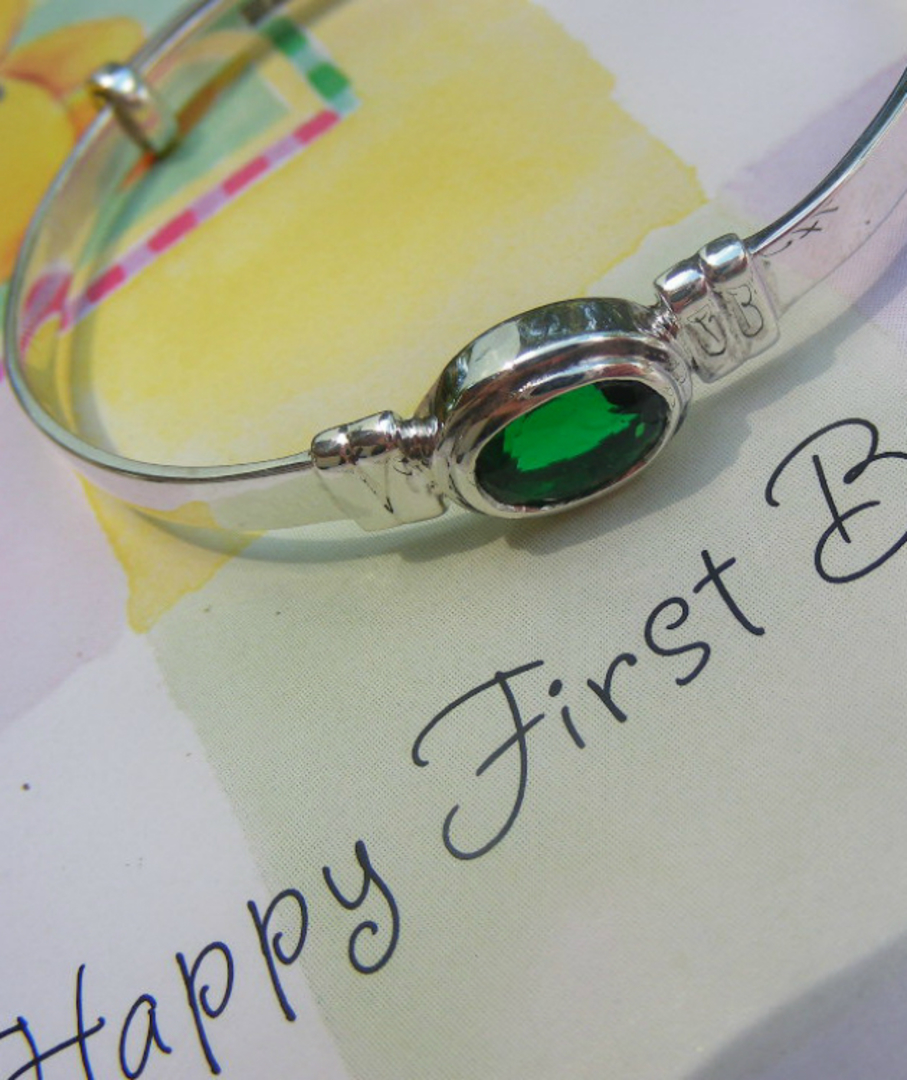Sterling silver May baby birthstone bangle image 2