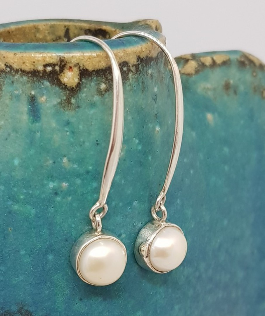 Fresh water pearl earrings, long drop, elegance + image 0