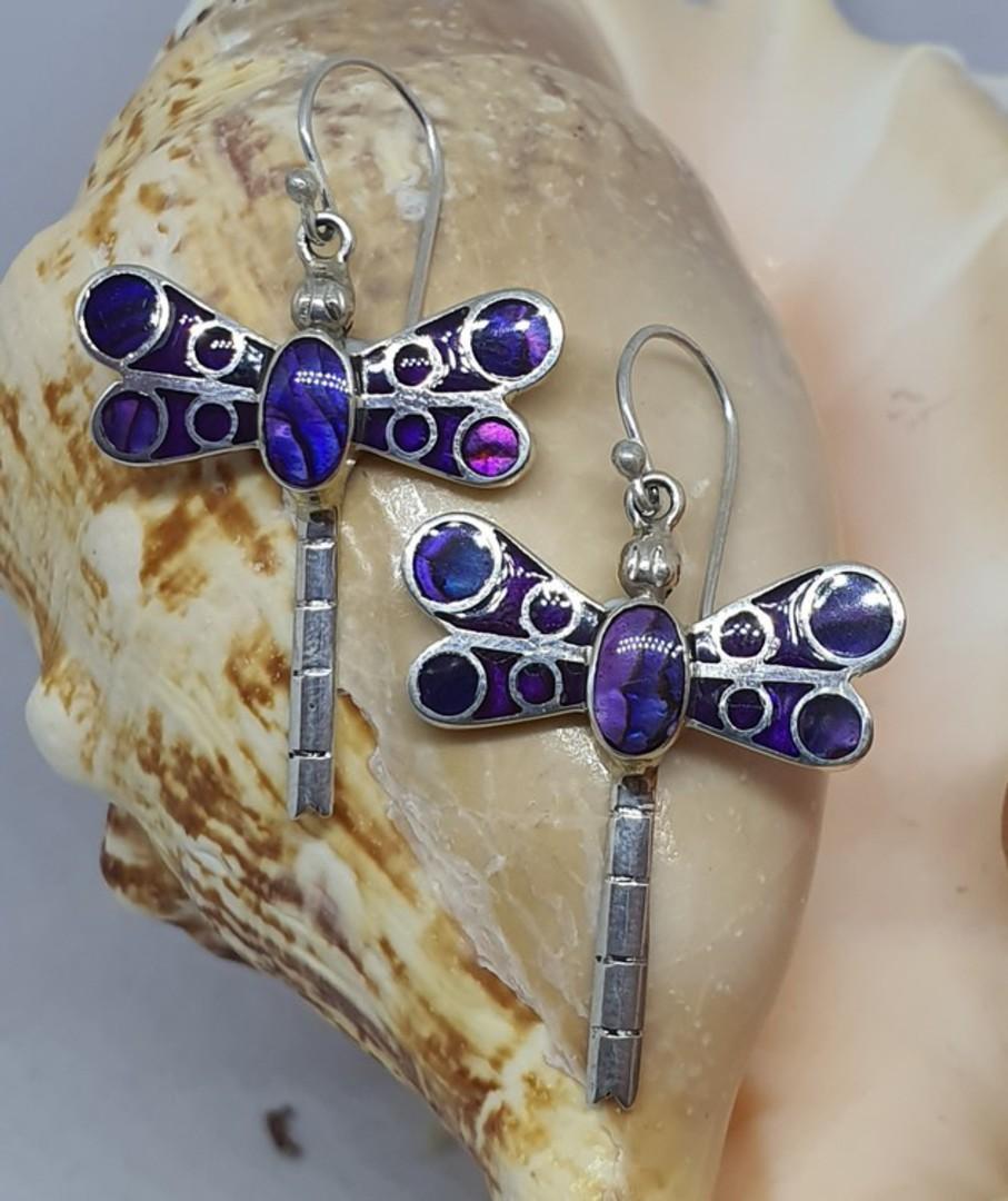 Purple dragonfly earrings image 0