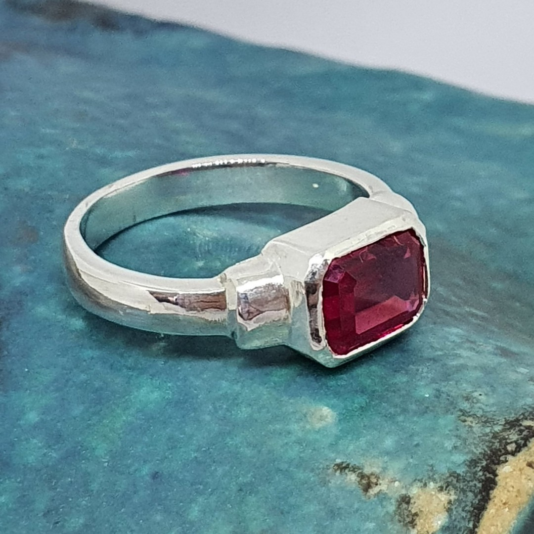 Silver ring with rectangle synthetic ruby gemstone - made in NZ image 1