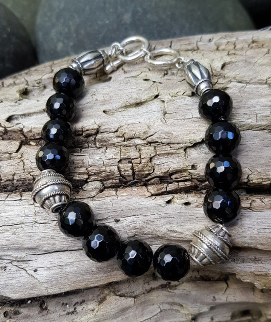 Facet cut black onyx beads and silver bracelet image 2