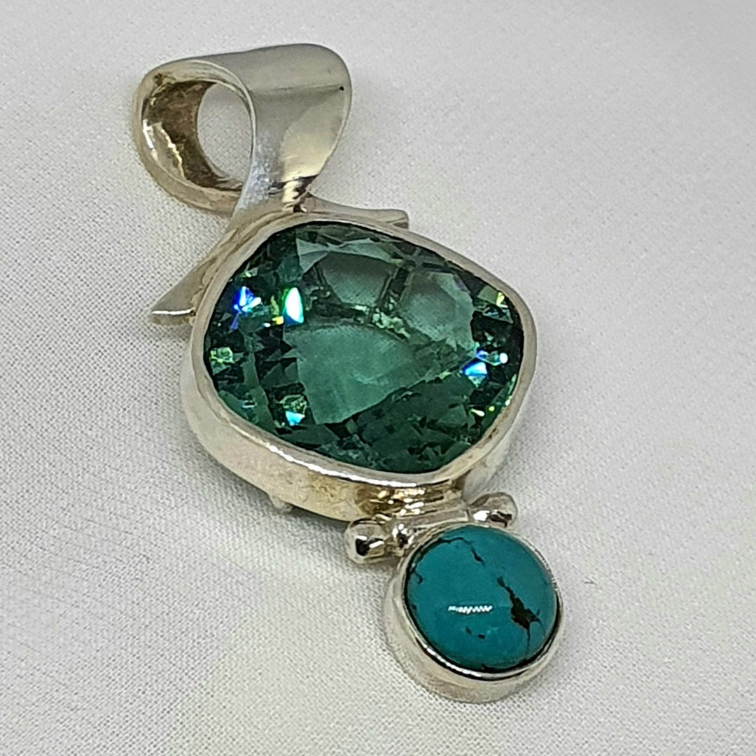 Made in NZ turquoise and coloured gemstone pendant image 0
