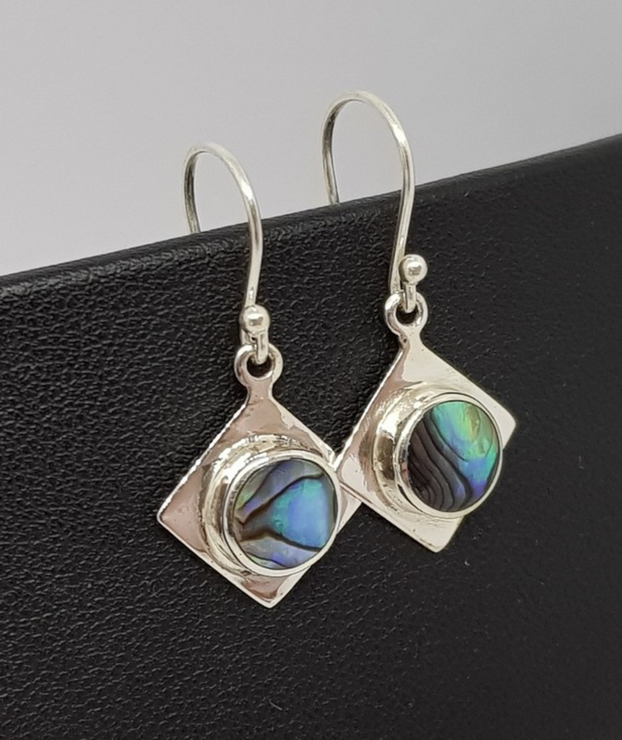 NZ Paua Shell Silver Earrings image 1