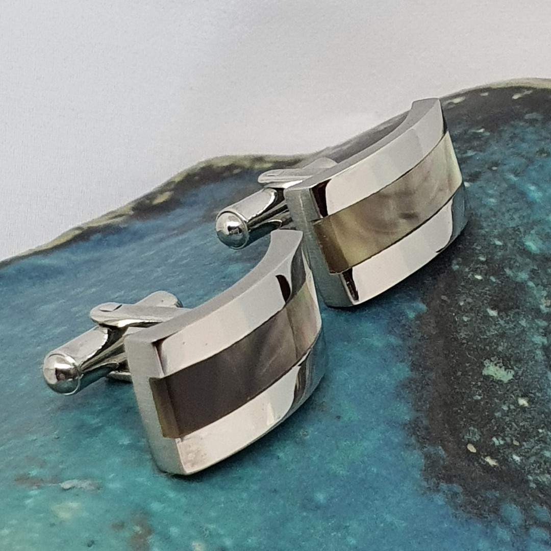 Stainless shell cufflinks with inlay shell image 1