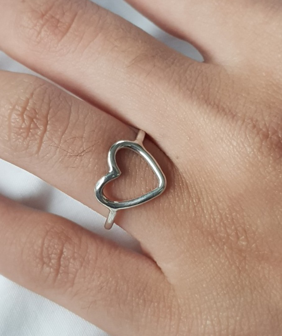 Sterling silver stacking ring with open heart image 2