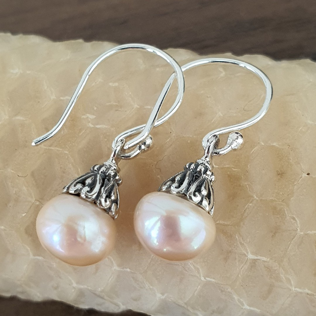 Classic pearl drop earrings with silver detail image 2