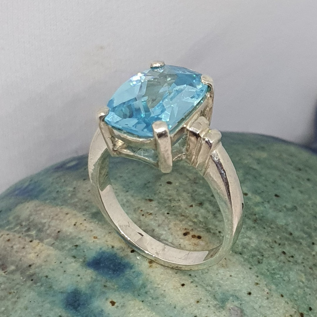 Silver blue topaz ring - NZ made image 0