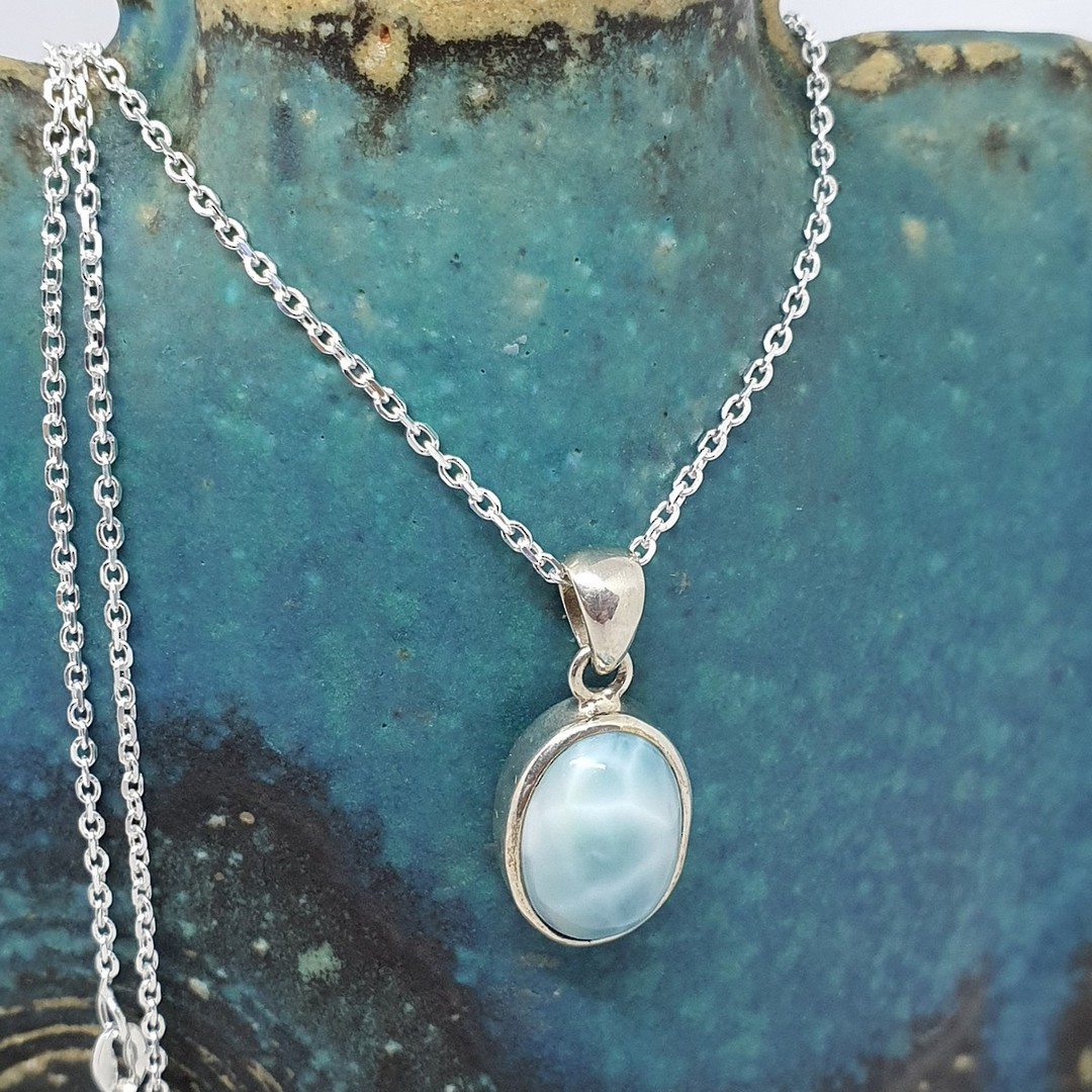 Silver larimar gemstone pendant with chain image 1