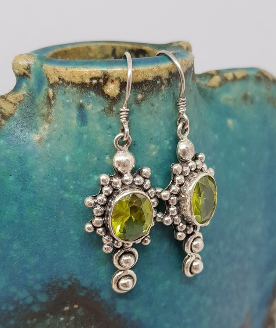 Large ornate silver peridot earrings with a gorgeous image 3