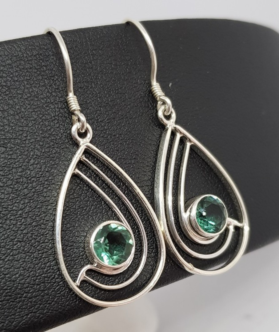 Green quartz open teardrop silver earrings image 1