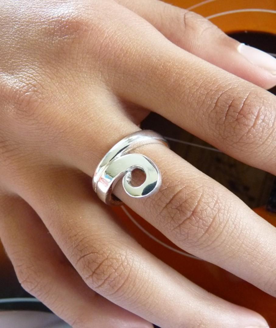 NZ made 925 silver koru ring image 2