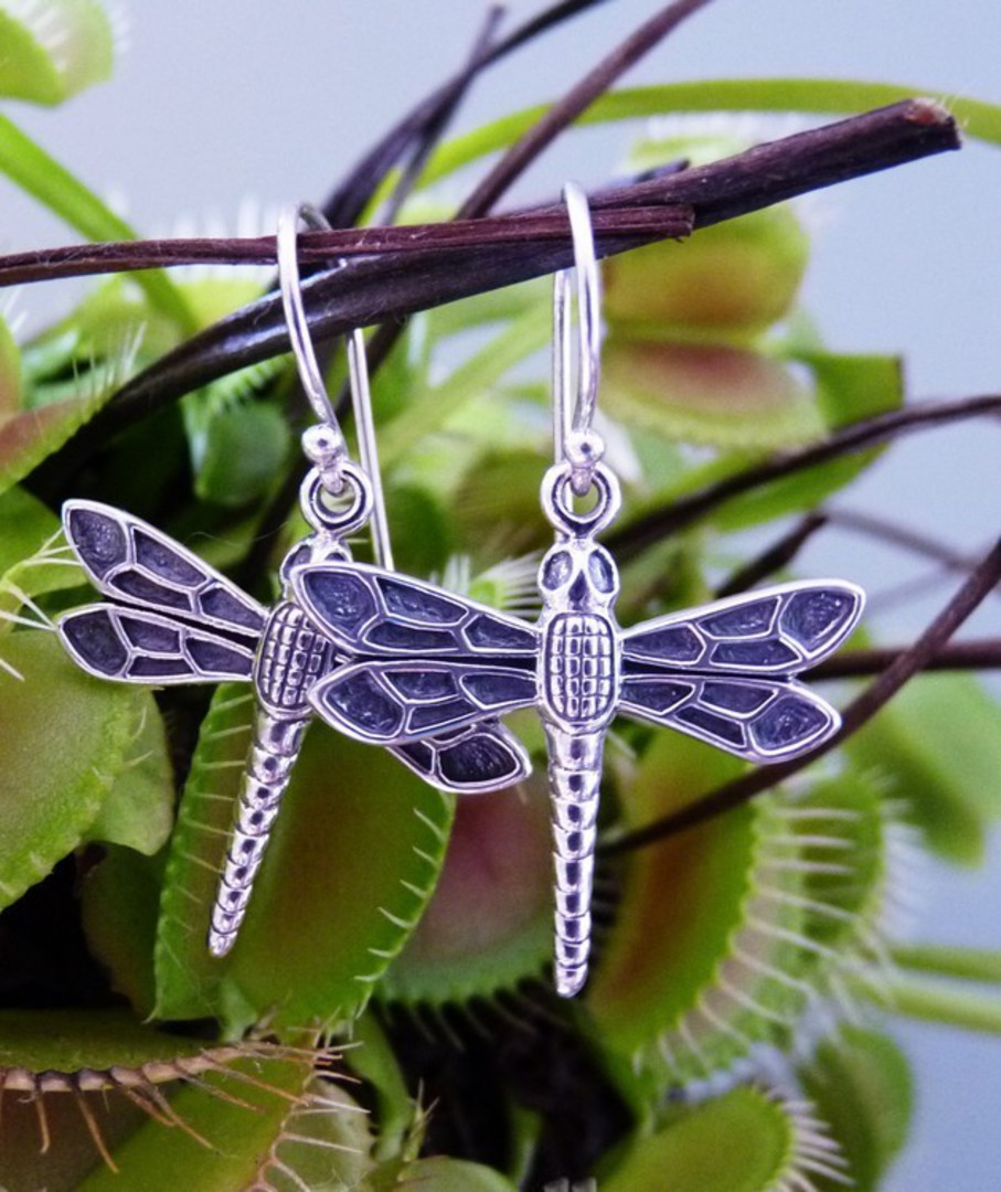 Sterling silver dragonfly earrings image 1