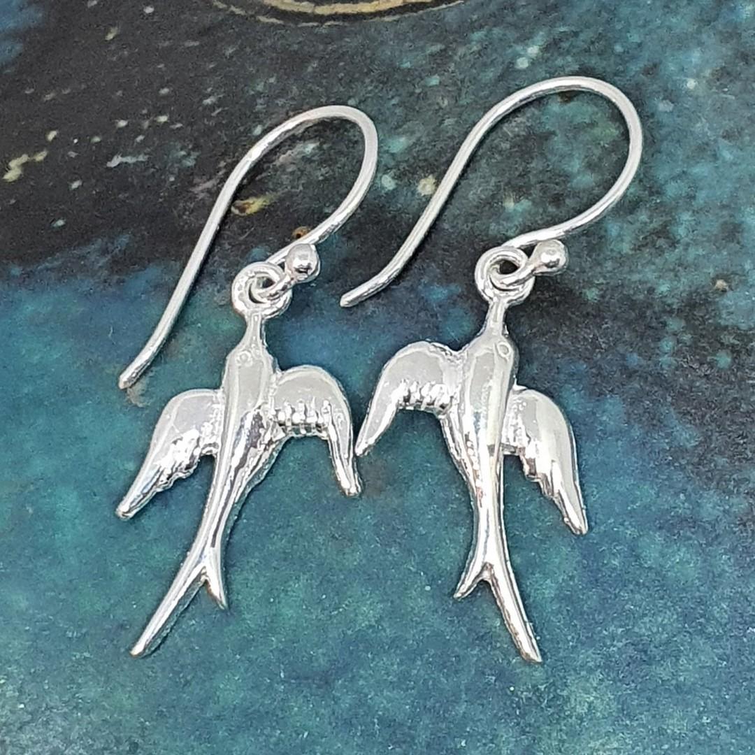 Sterling silver swallow bird earrings image 0