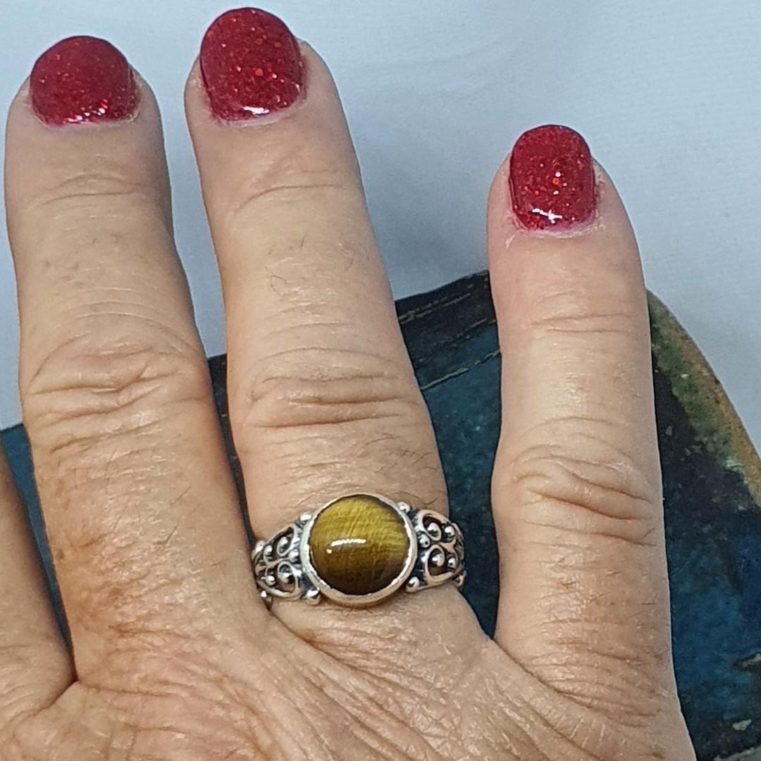 Sterling silver tigers eye gemstone ring image 4