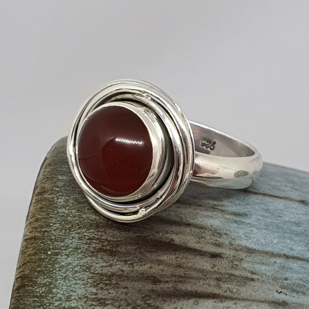 Silver carnelian ring image 1