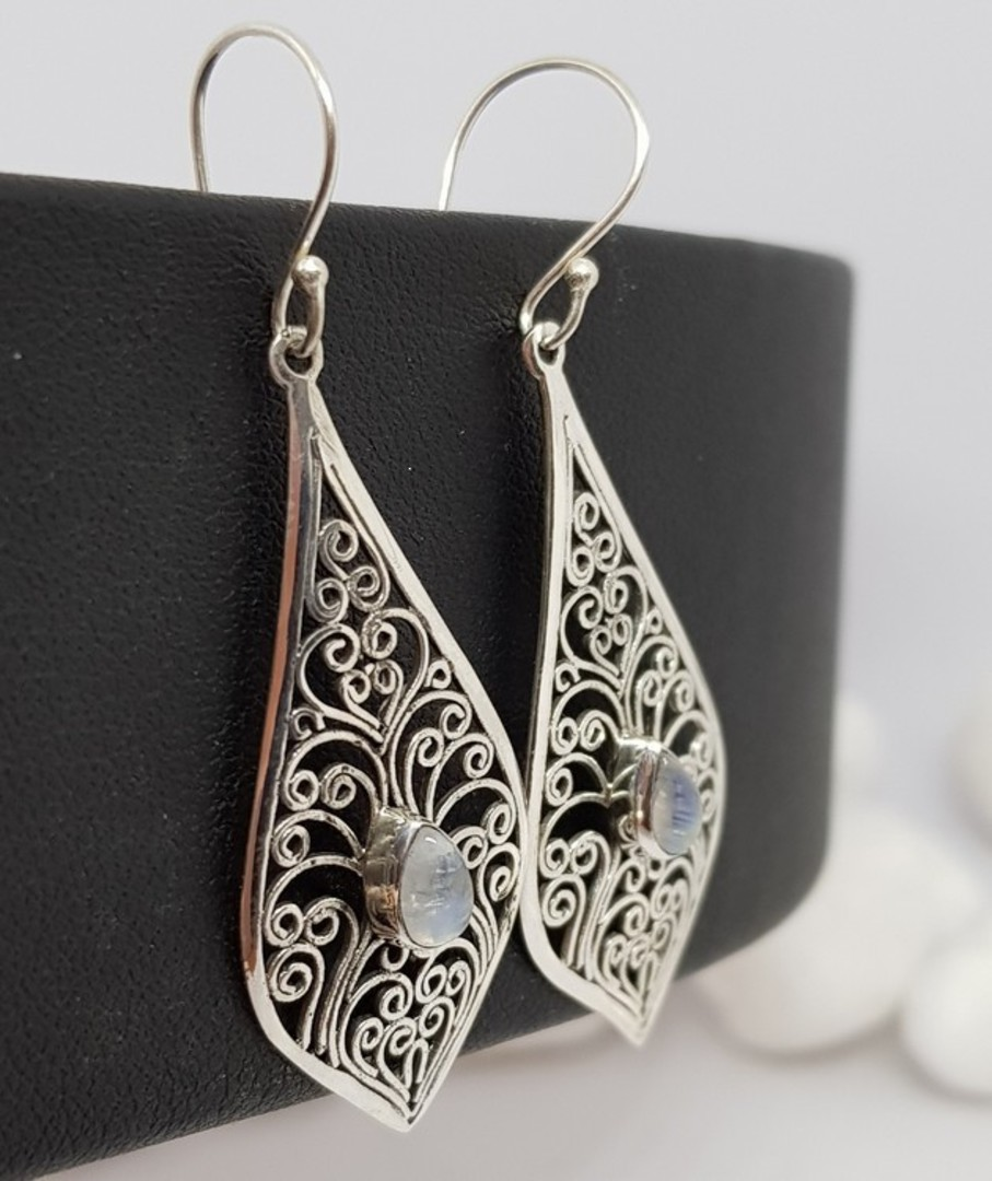 Silver filigree earrings with moonstone gemstone image 1