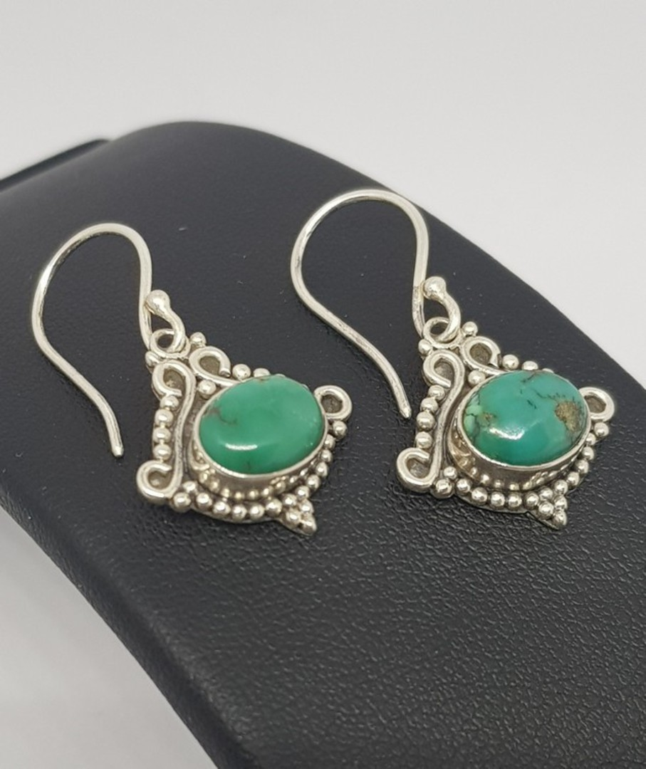 Sterling silver turquoise earrings with filigree setting image 2