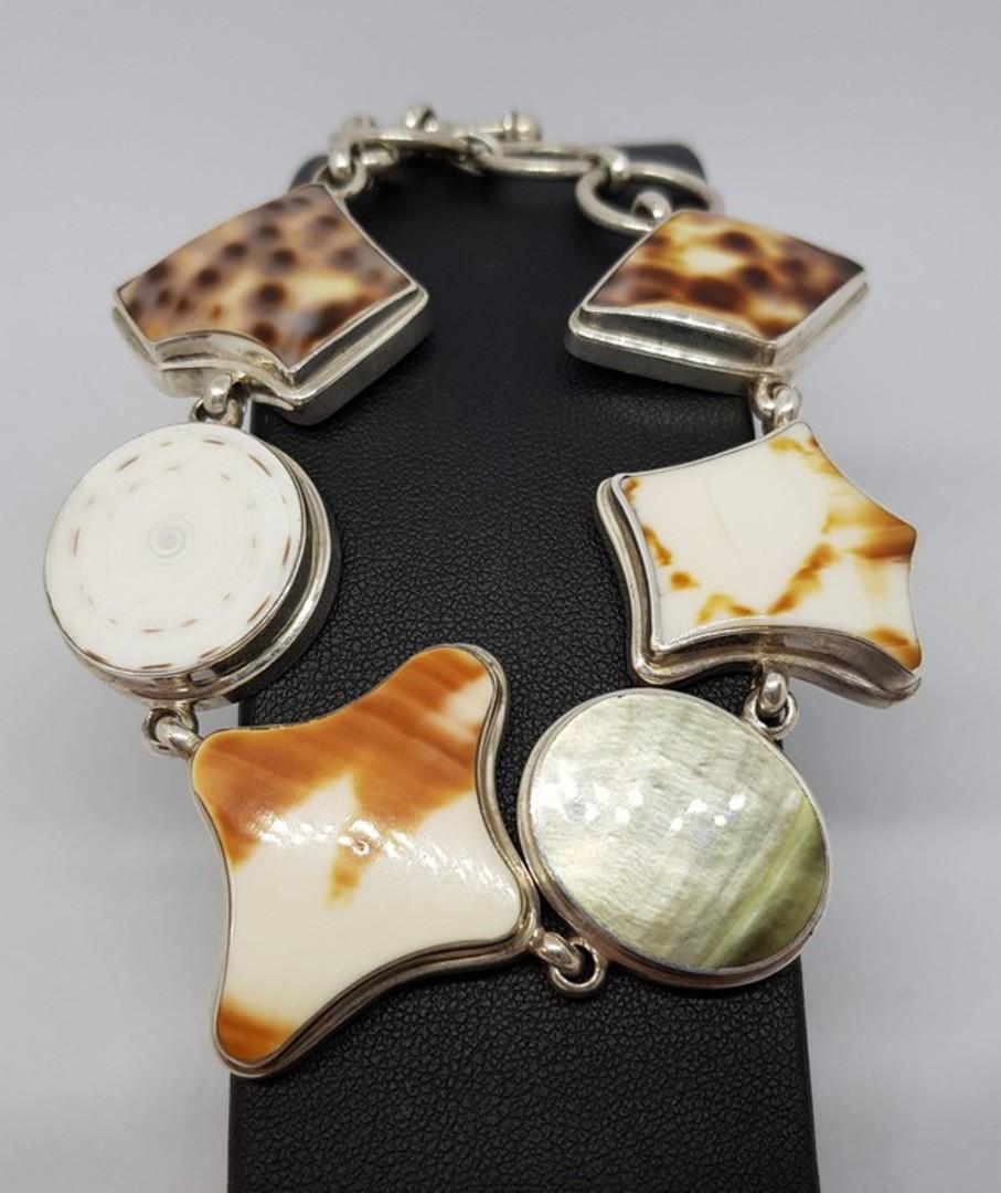 Solid sterling silver shell bracelet image 0