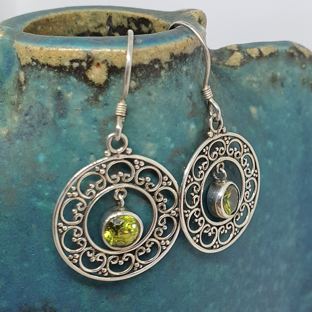 Silver lace hoop earrings with green peridot image 2