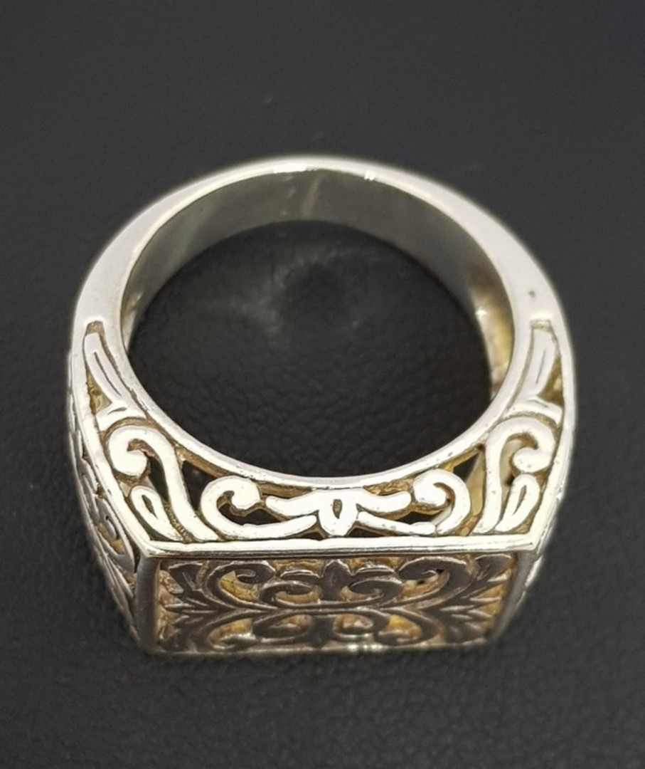 Sterling silver silver filigree lace ring image 1