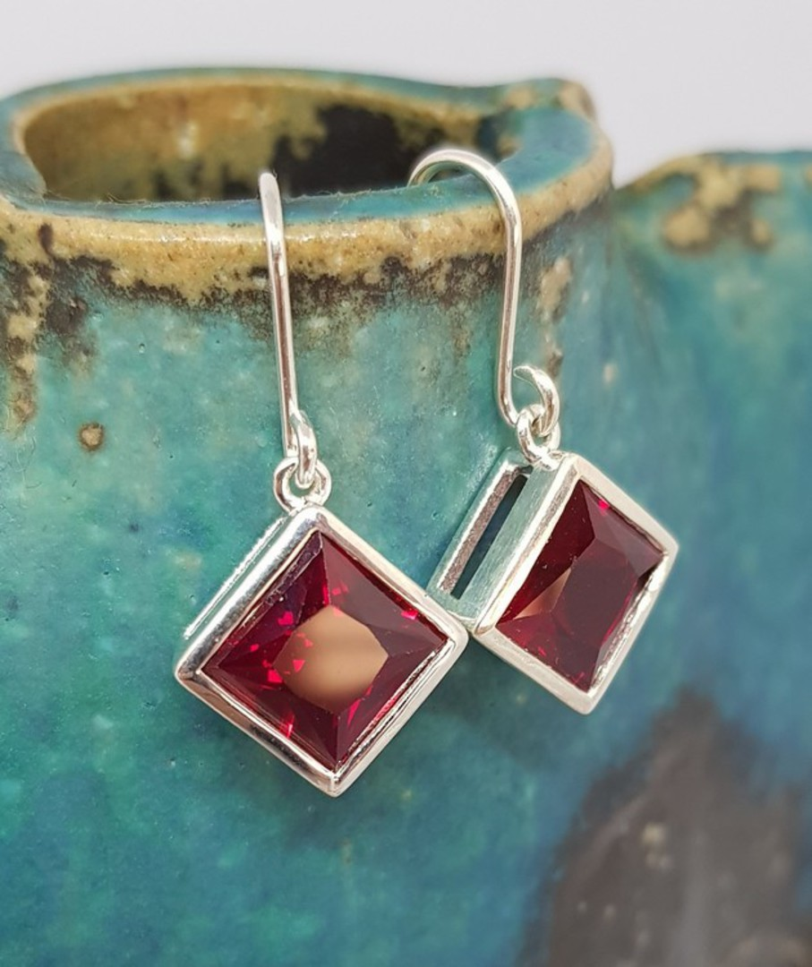 Sparkling red, princess cut synthetic ruby earrings image 0