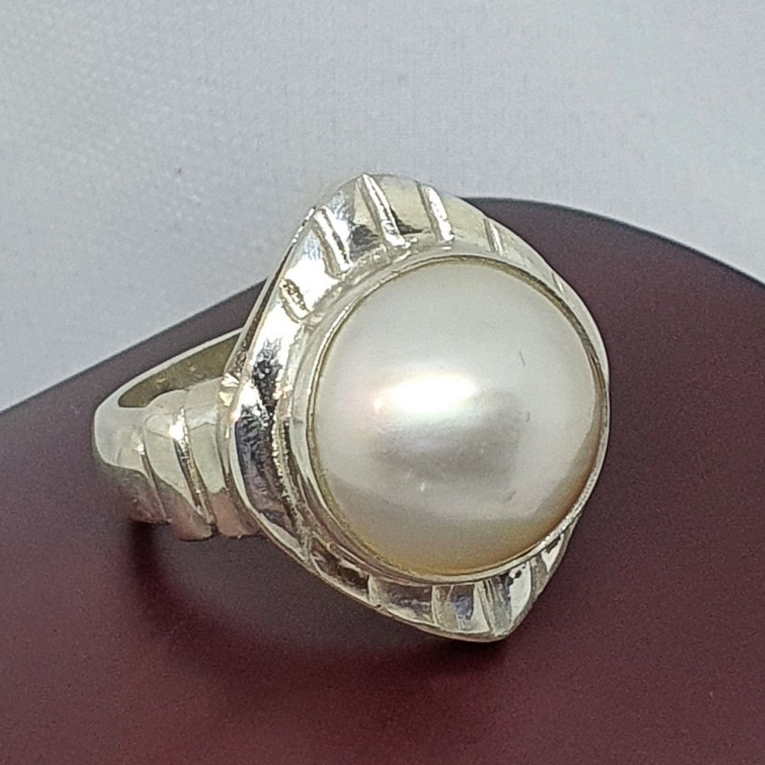 Sterling silver chunky pearl dress ring image 0