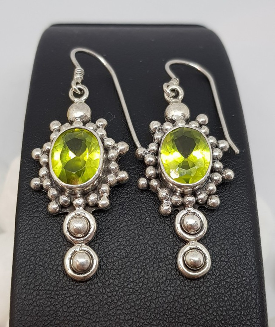 Large ornate silver peridot earrings with a gorgeous image 0