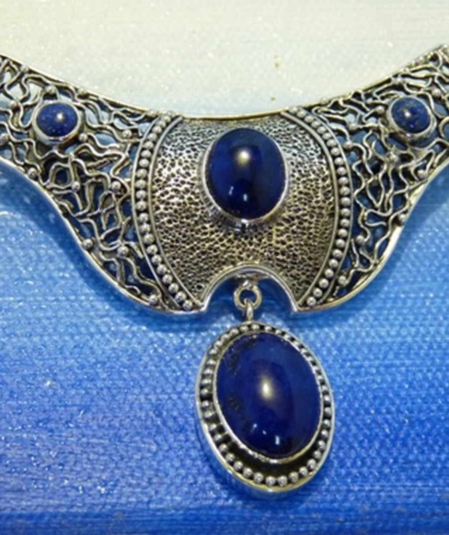 Lapis lazuli large silver pendant - can be worn as a brooch image 0