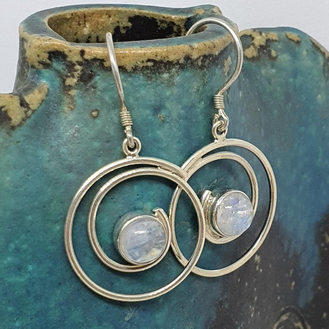 Silver spiral moonstone earrings image 0
