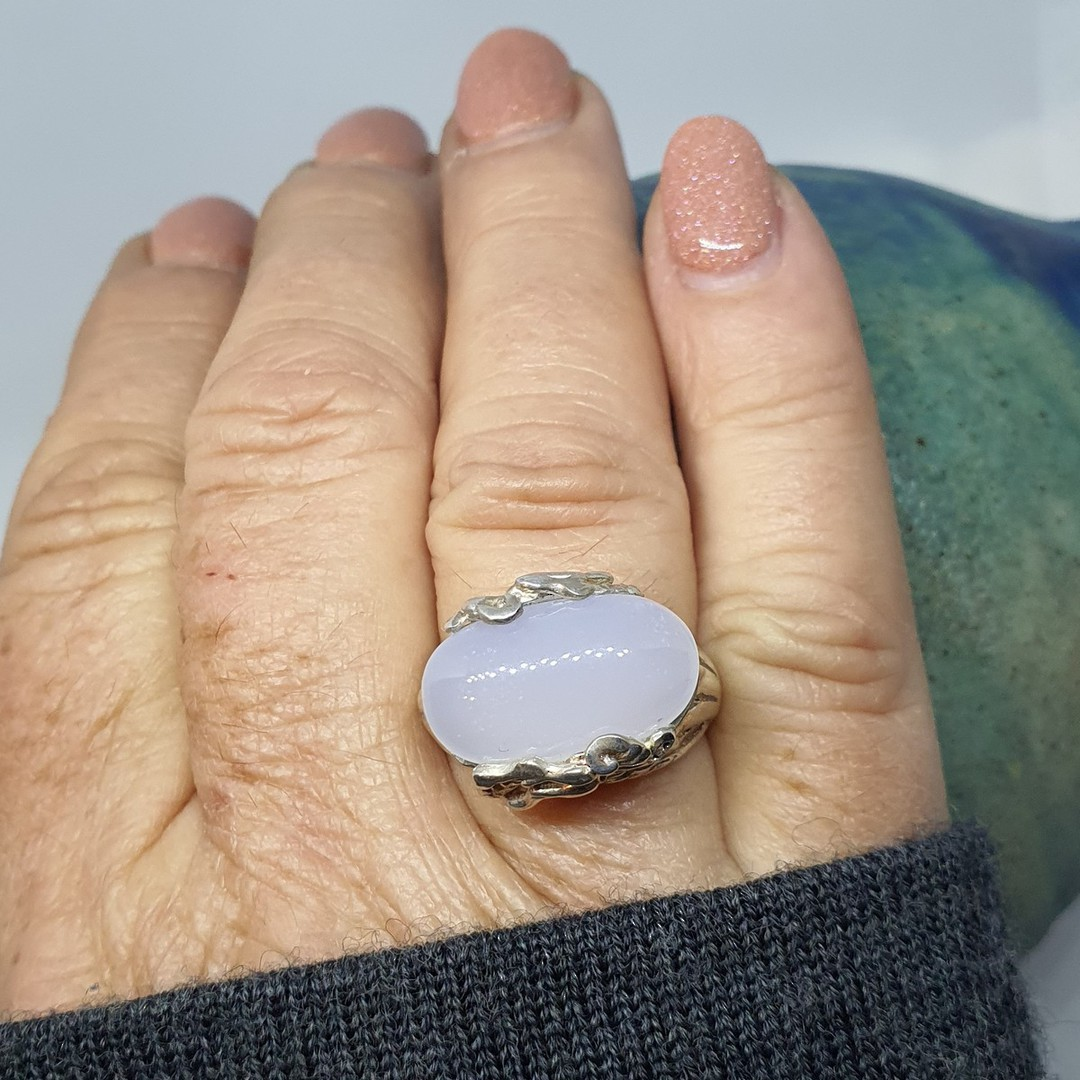 Sterling silver milky blue chalcedony ring image 3
