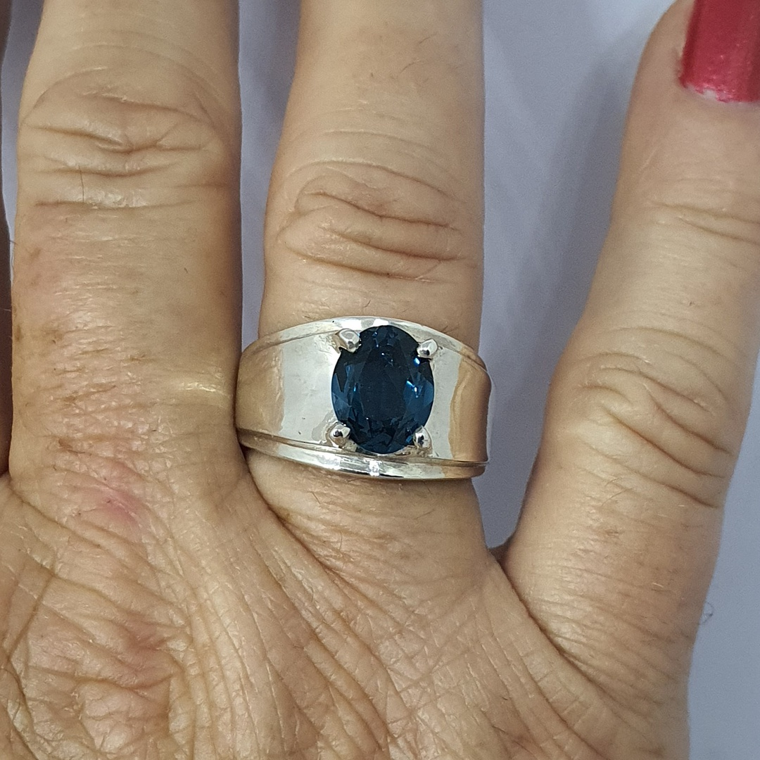 Wide silver band ring with blue topaz simulated gemstone image 2