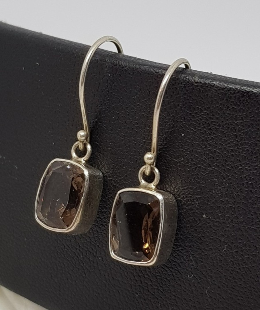 Smoky quartz silver earrings image 0