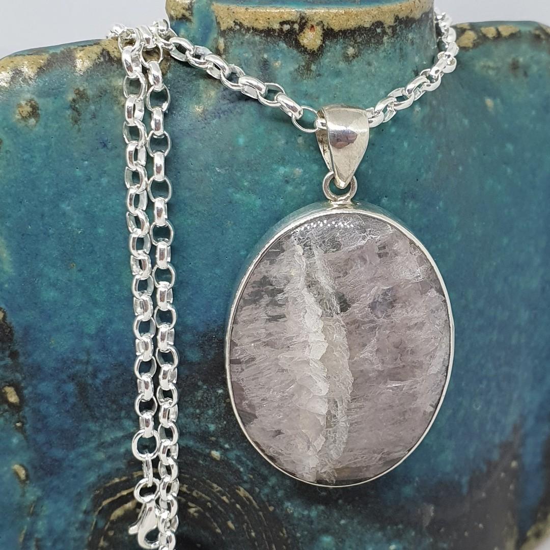 Sterling silver oval fluorite pendant image 1