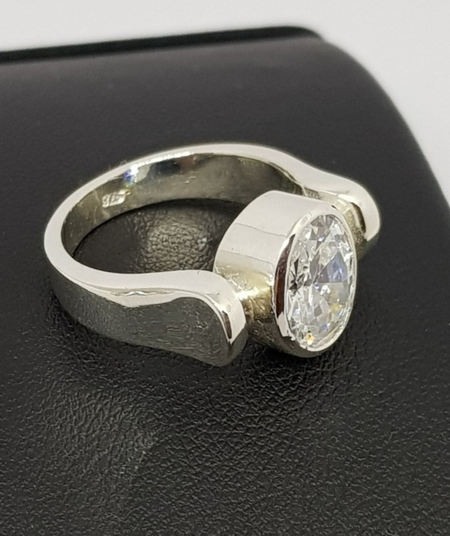 Sterling silver ring with large cubic zirconia image 1