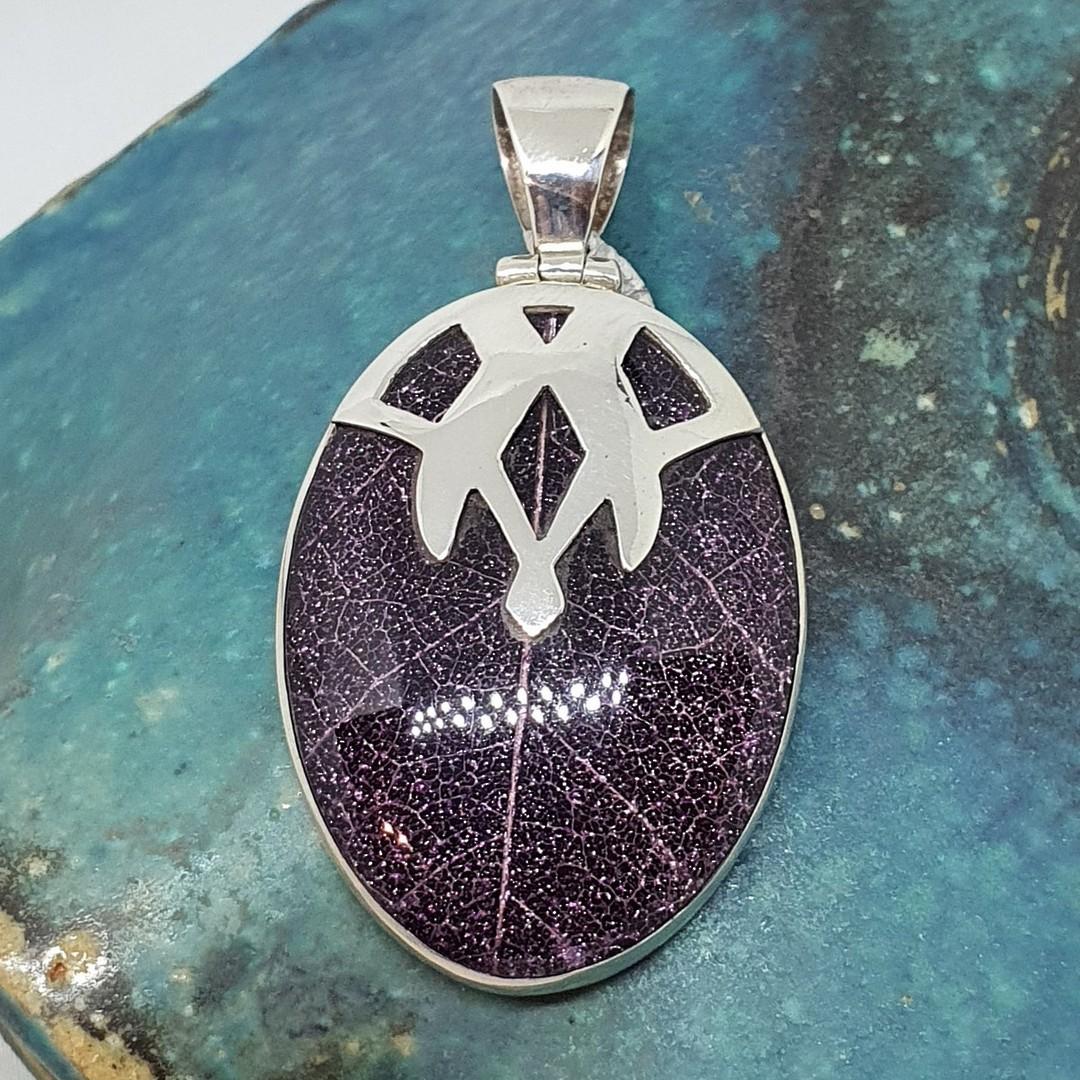 Purple skeleton leaf pendant - framed in solid sterling image 0