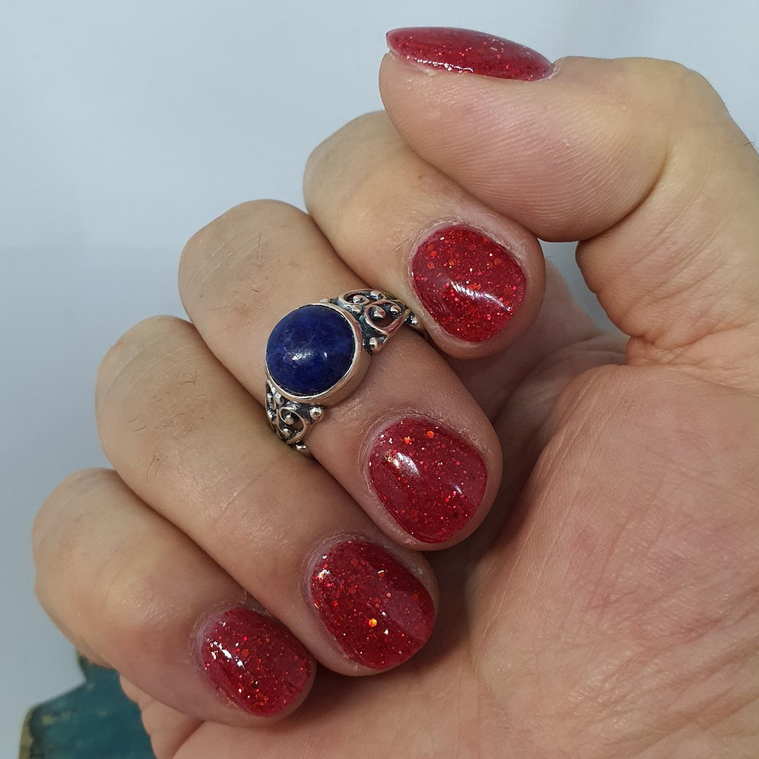 Sterling silver lapis lazuli gemstone ring image 2